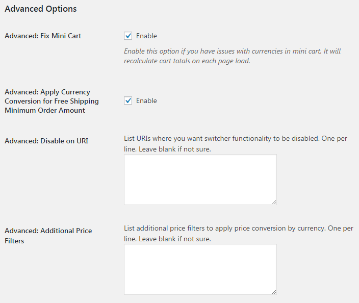 Currency Switcher for WooCommerce - General - Advanced Options.