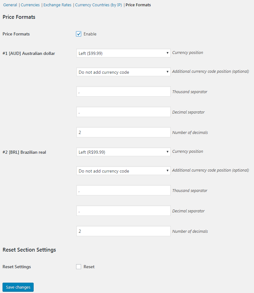 Currency Switcher for WooCommerce - Price Formats.