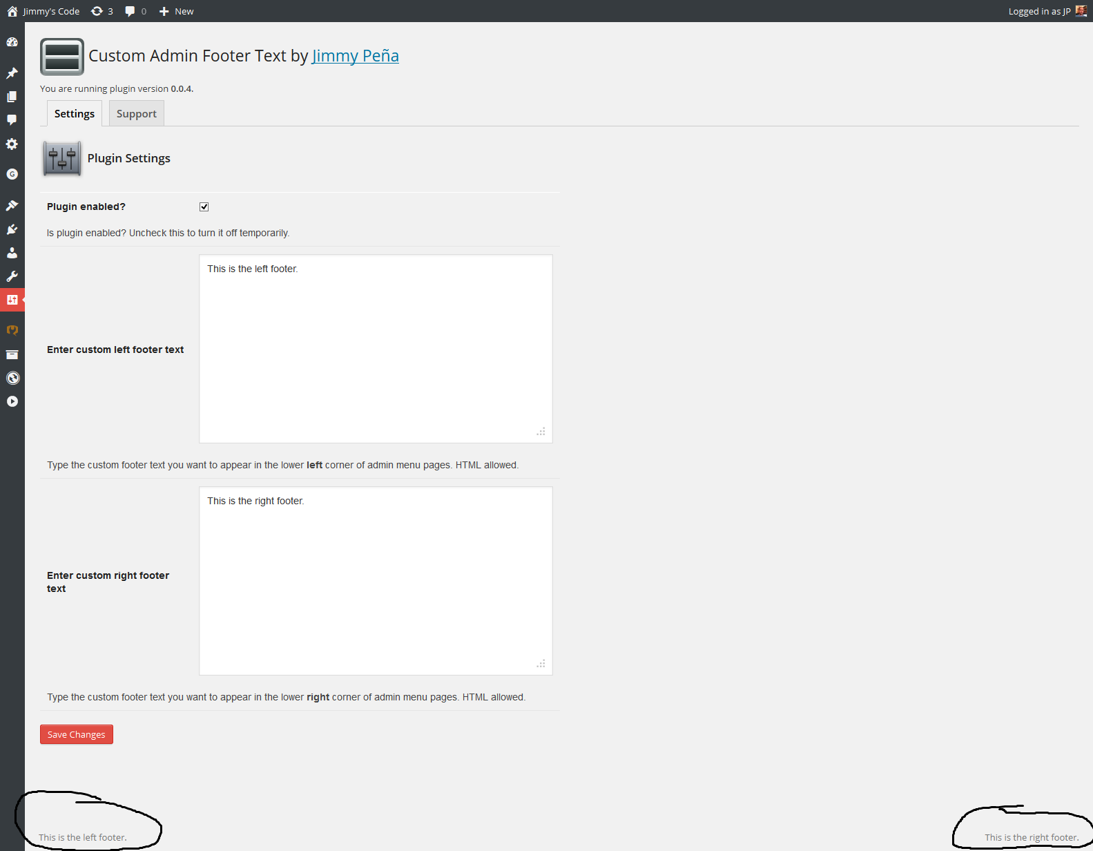 Plugin settings page where you can see the text entered and how it appears in the footer.
