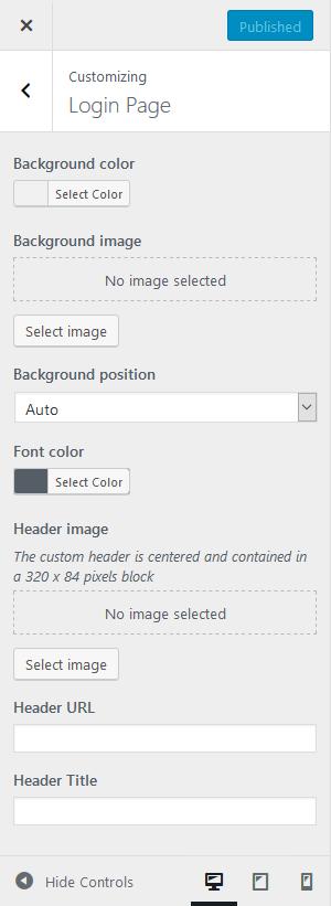 Theme Customization login page options.