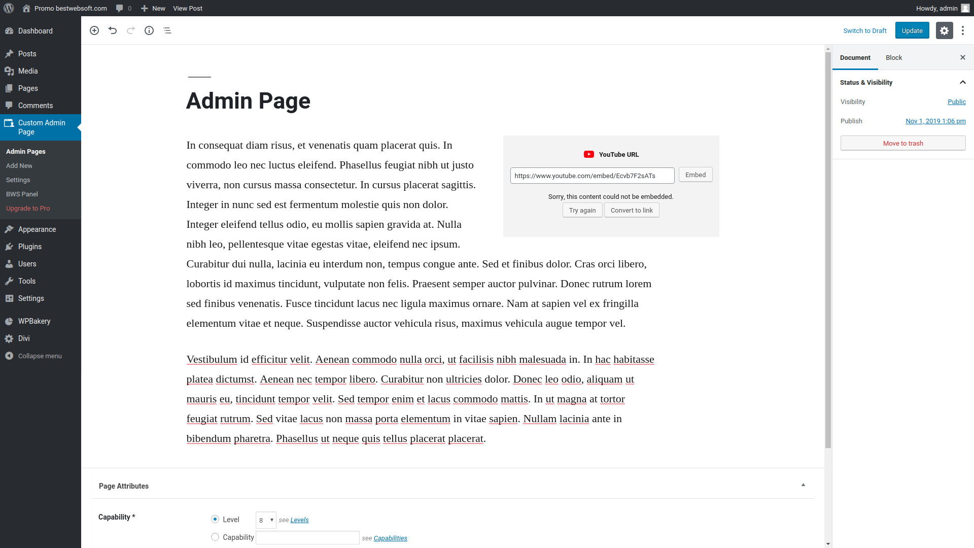 Add New Page using the plugin.