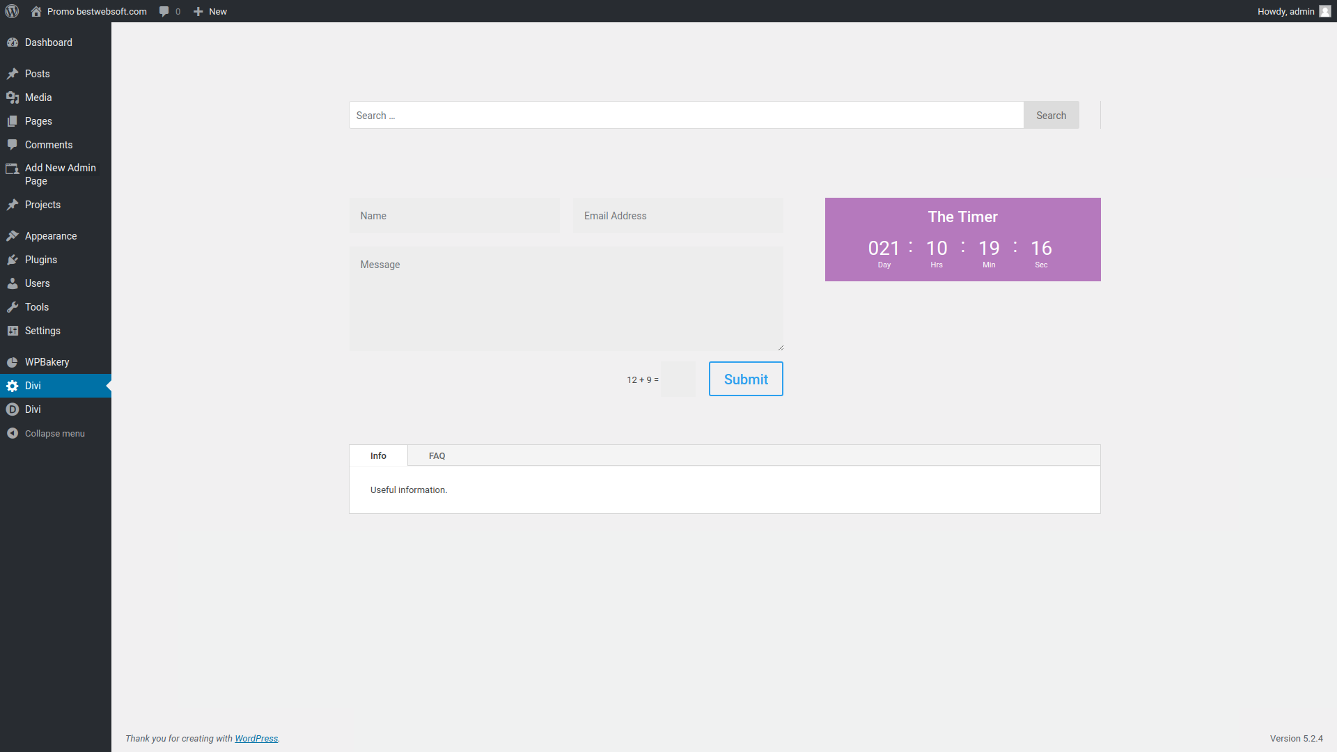 Custom page added by the plugin.