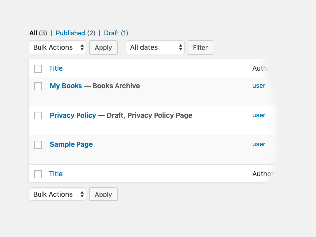 Viewing the custom archive page in the page list table.