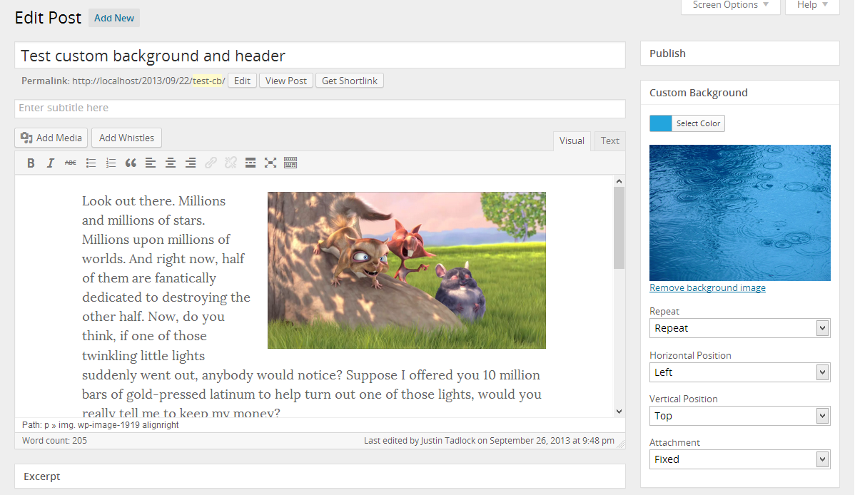 Custom background meta box on the edit post screen.