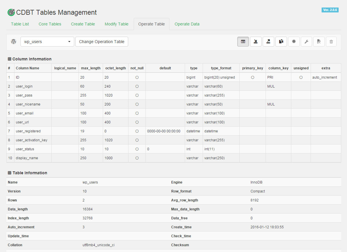 On this plugin, you will be able to manipulate various tables of the database from wordpress management screen.