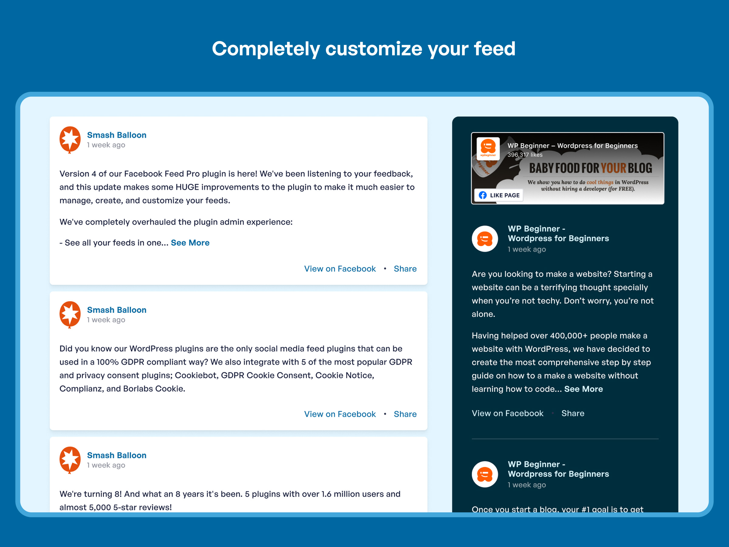 Completely customize the way your Facebook feed looks to perfectly match your site