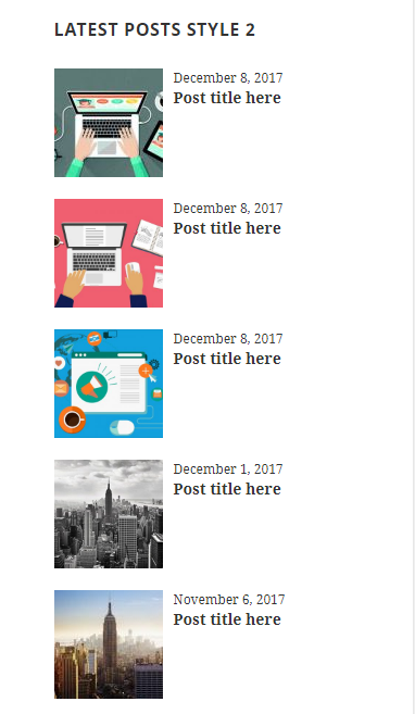 Latest Posts list showing post title,date and feature image.
