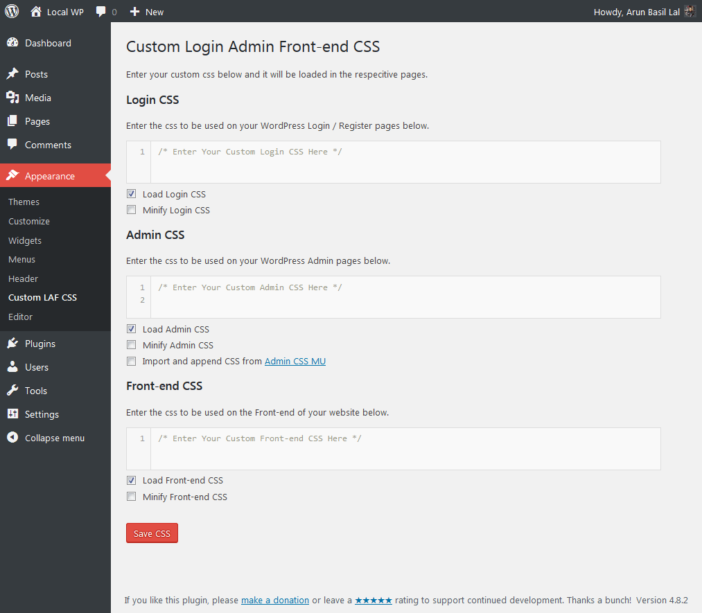 Custom Login Admin Front-end CSS 1.3.1 - WordPress plugin