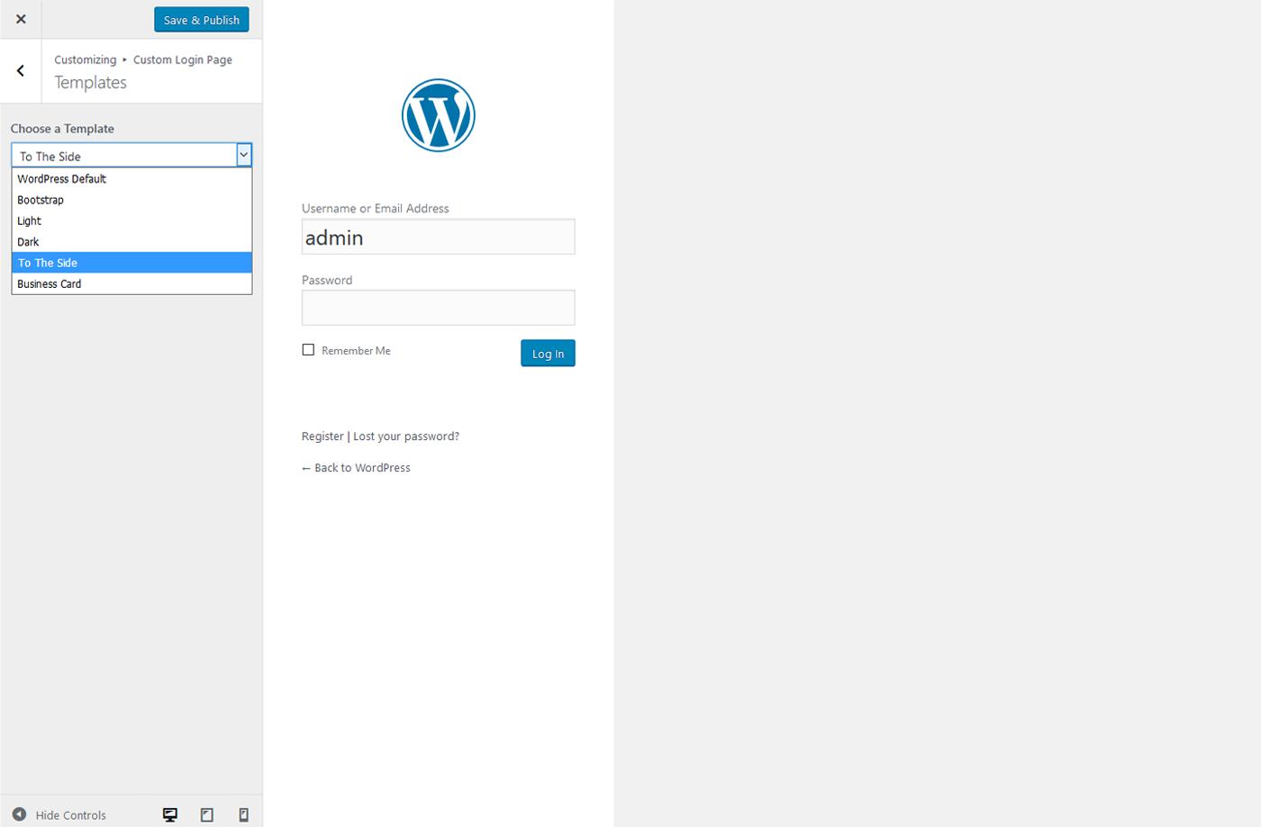 login screen templates