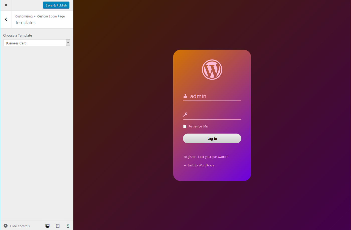 Custom Login Page Templates – Change Logo, Background And CSS – WordPress Plugin
