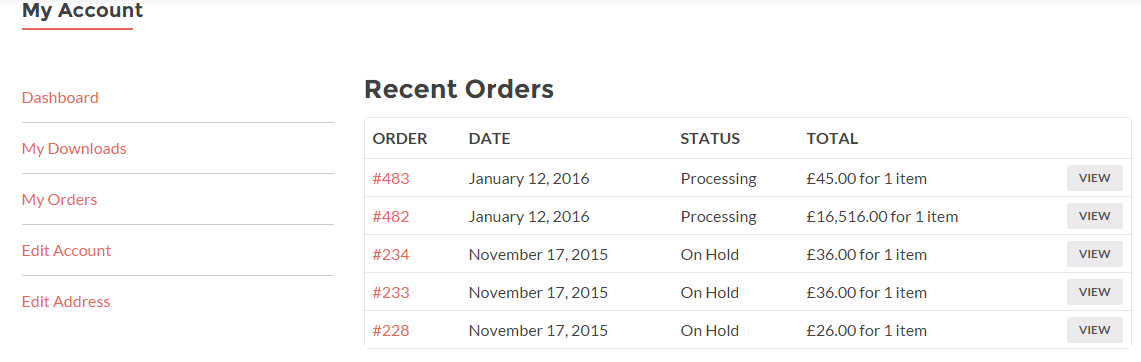 "This screenshot shows how ""My Orders"" looks on My Account page."