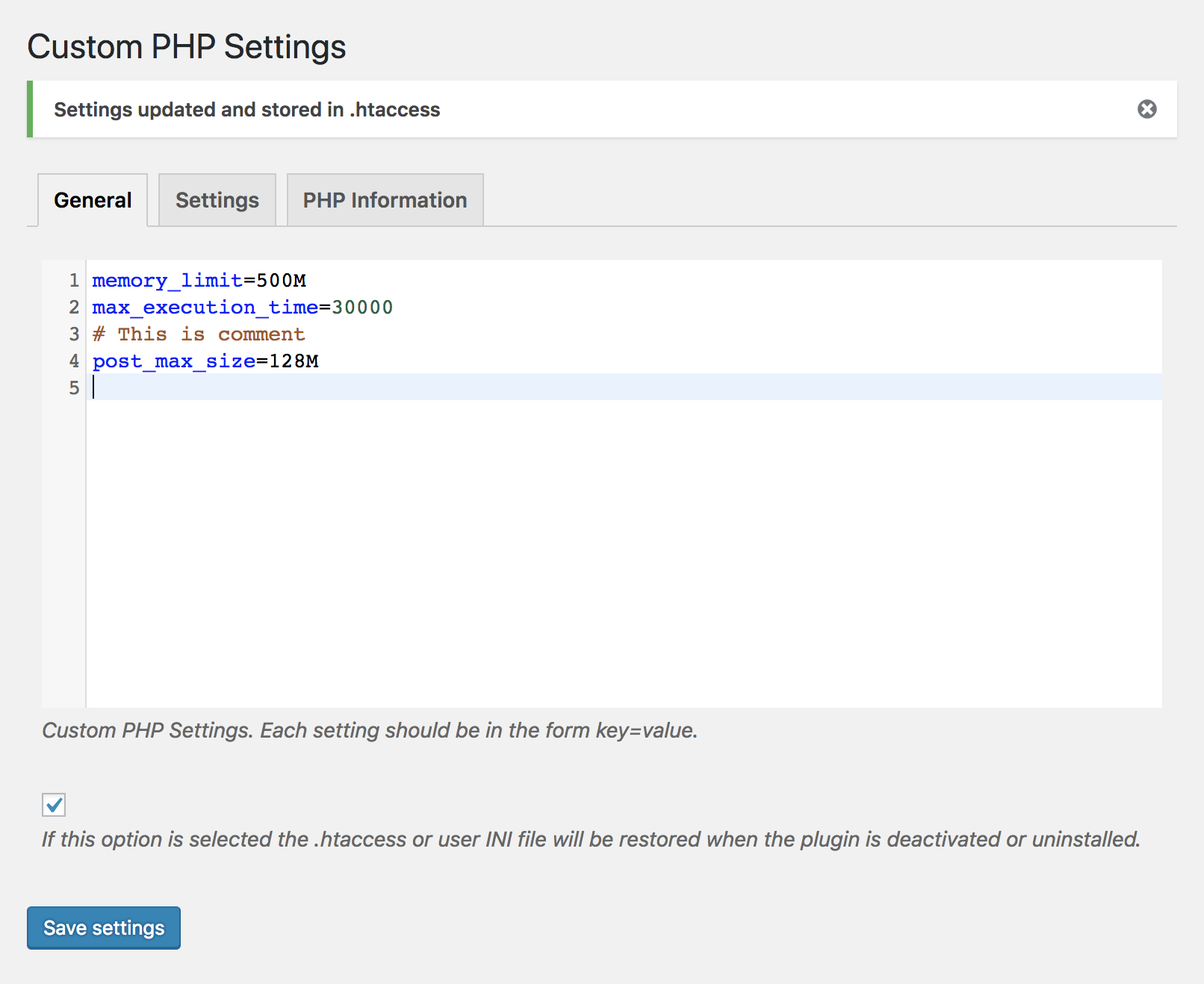 Customize PHP settings from within wordpress administration.