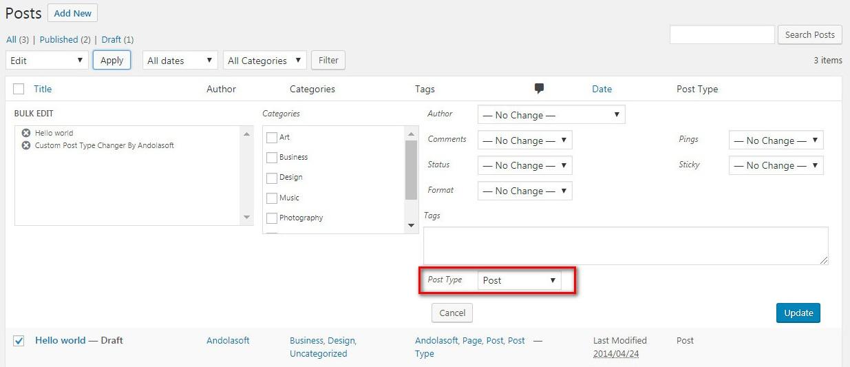 """""""Post Type"""" interface in """"Bulk Edit""""."""