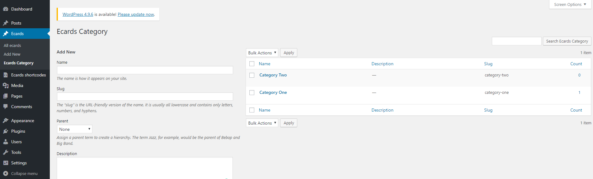 Overview of your created Custom Post Types
