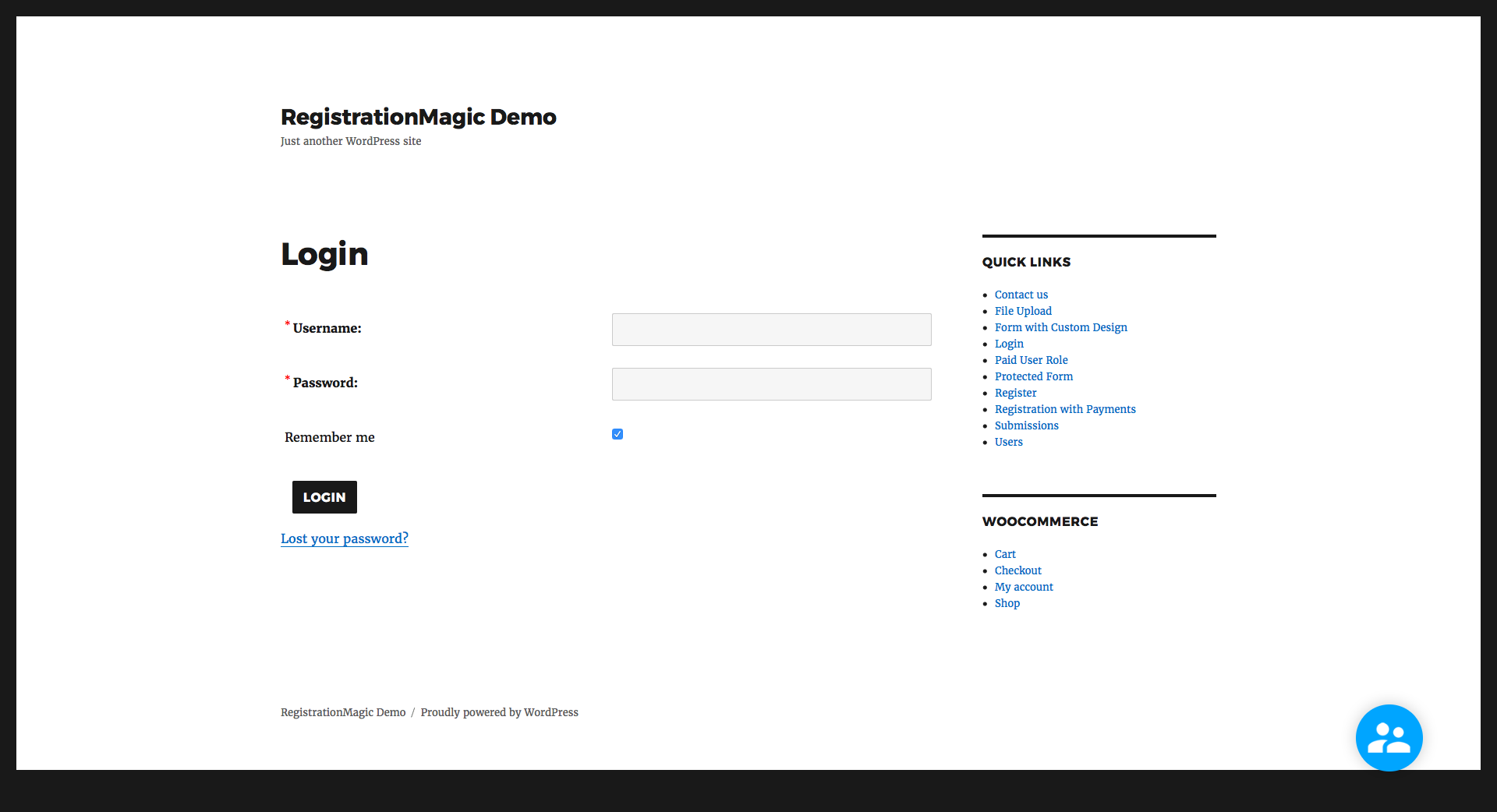 Login page using RegistrationMagic.