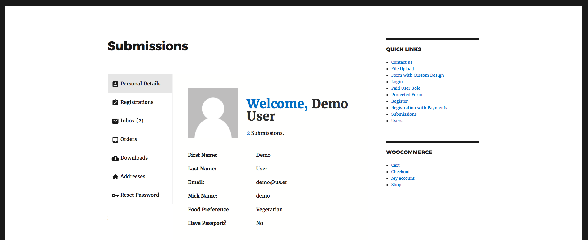 RegistrationMagic's User Account area with WooCommerce integrated.