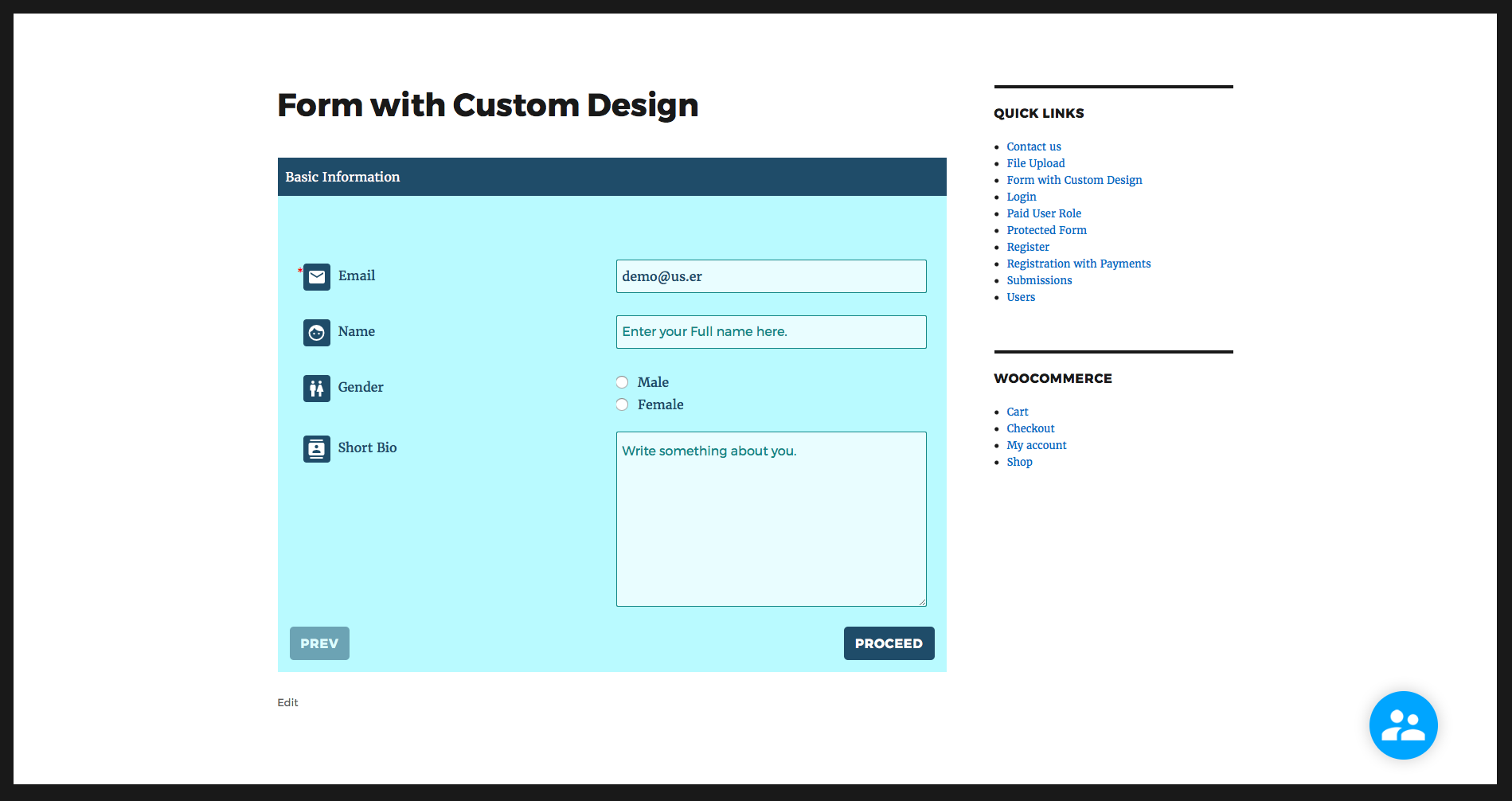 A multi-page user registration form styled using RegistrationMagic's visual form editor.