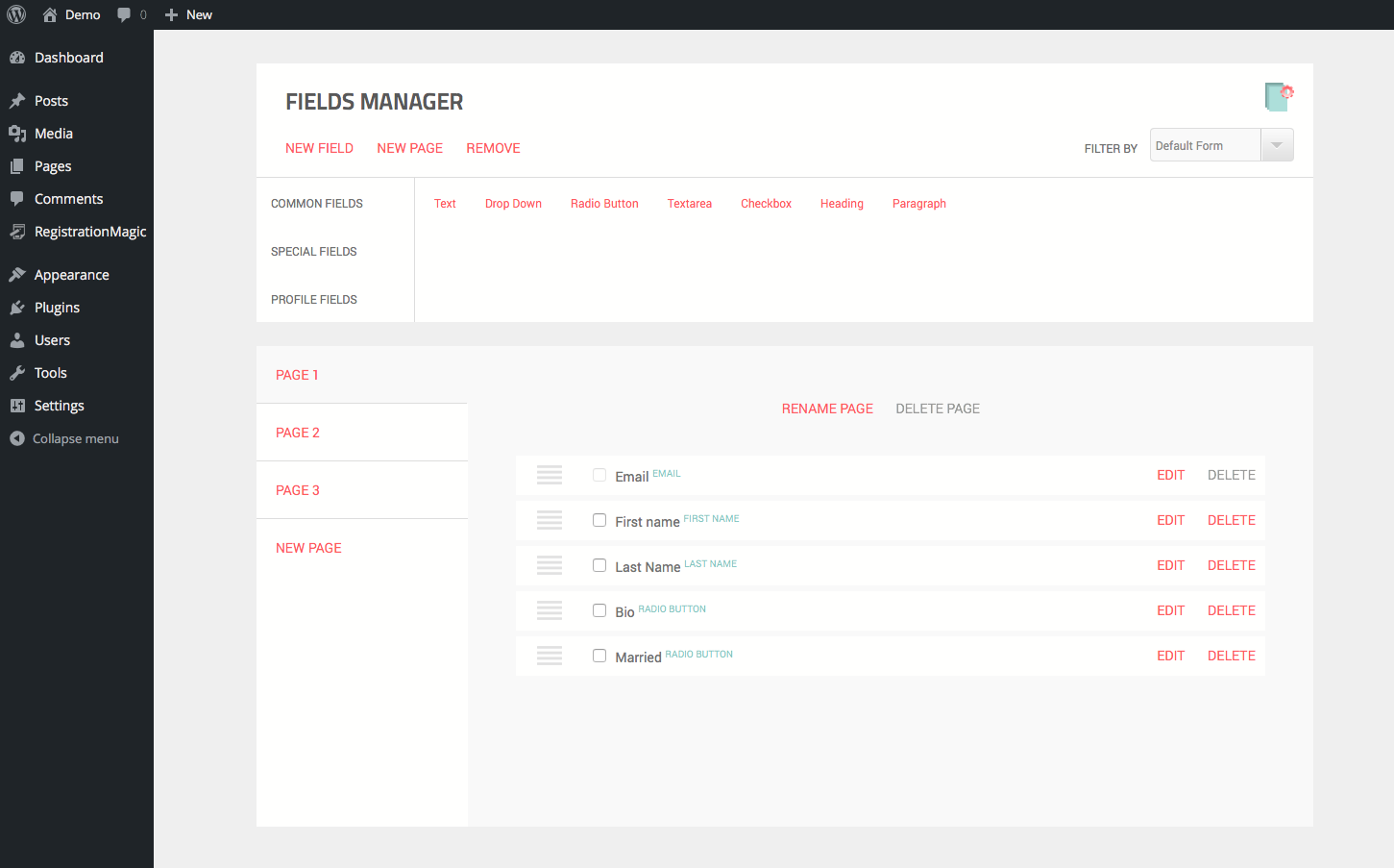 Form custom fields manager.