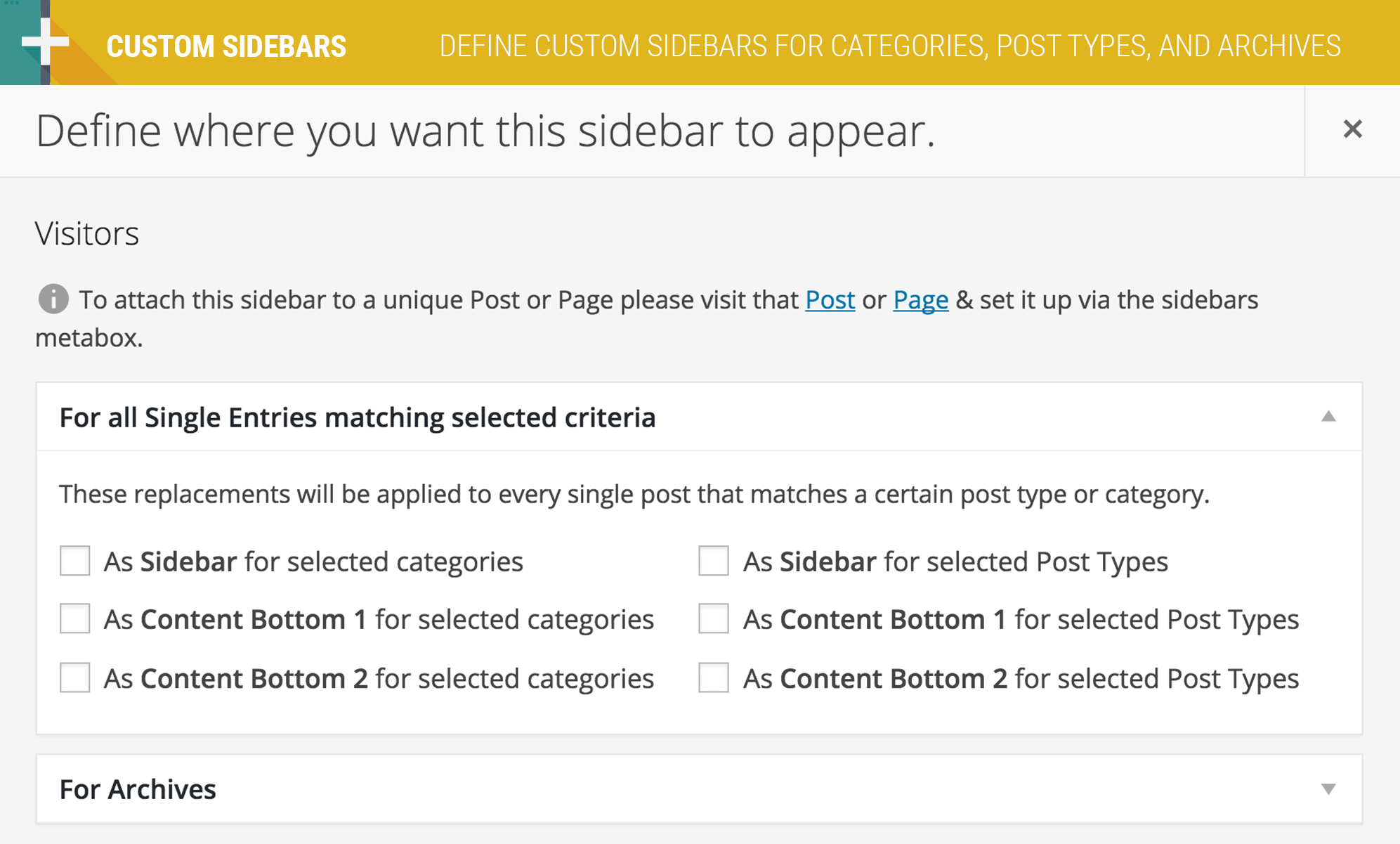 Create new sidebars without confusing settings.