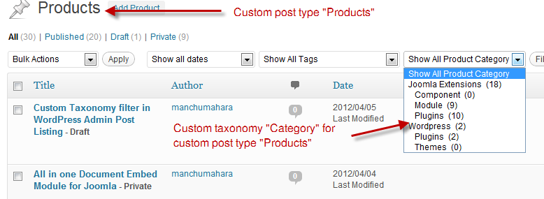 Custom Taxonomy Drop down in action