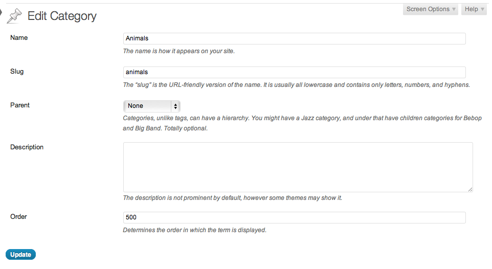 Order field in edit taxonomy term page