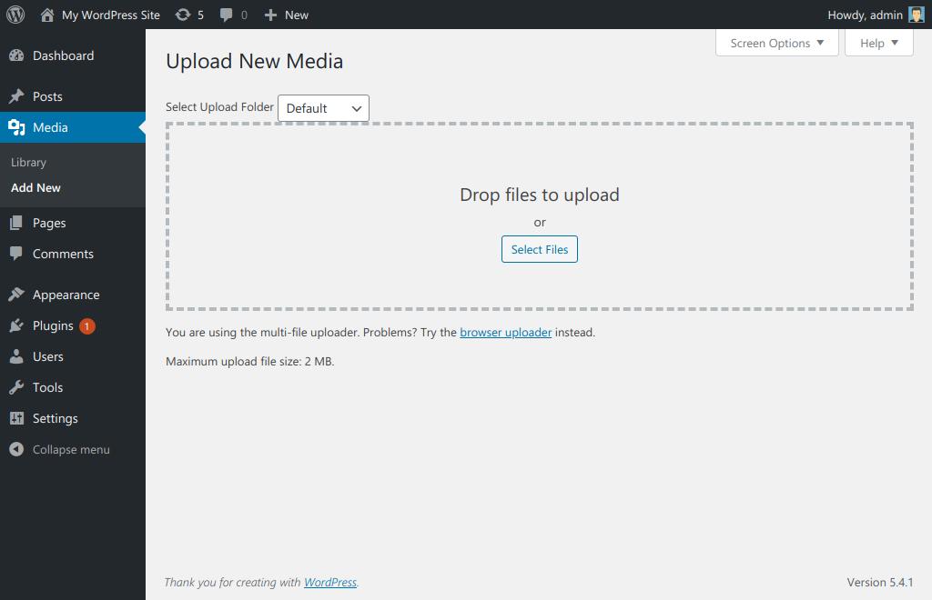 Media upload page.