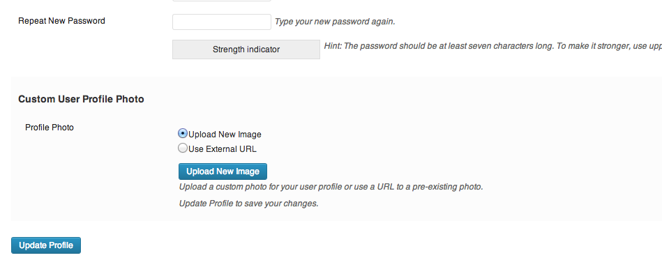 <p>The new fields that are added to the user profile page.</p>
