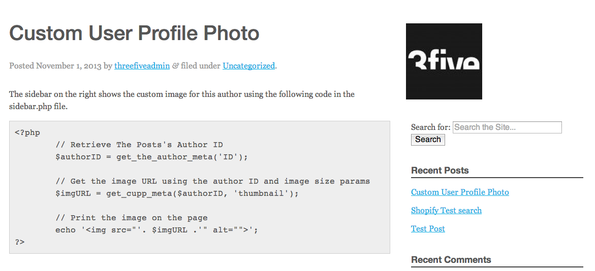 <p>An example of getting this new image to display on the front-end.</p>
