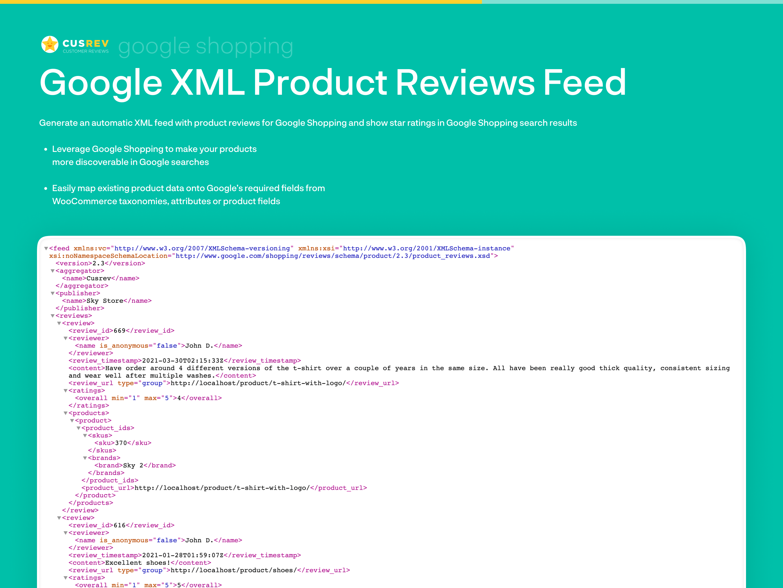 Google Shopping XML Product Reviews Feed