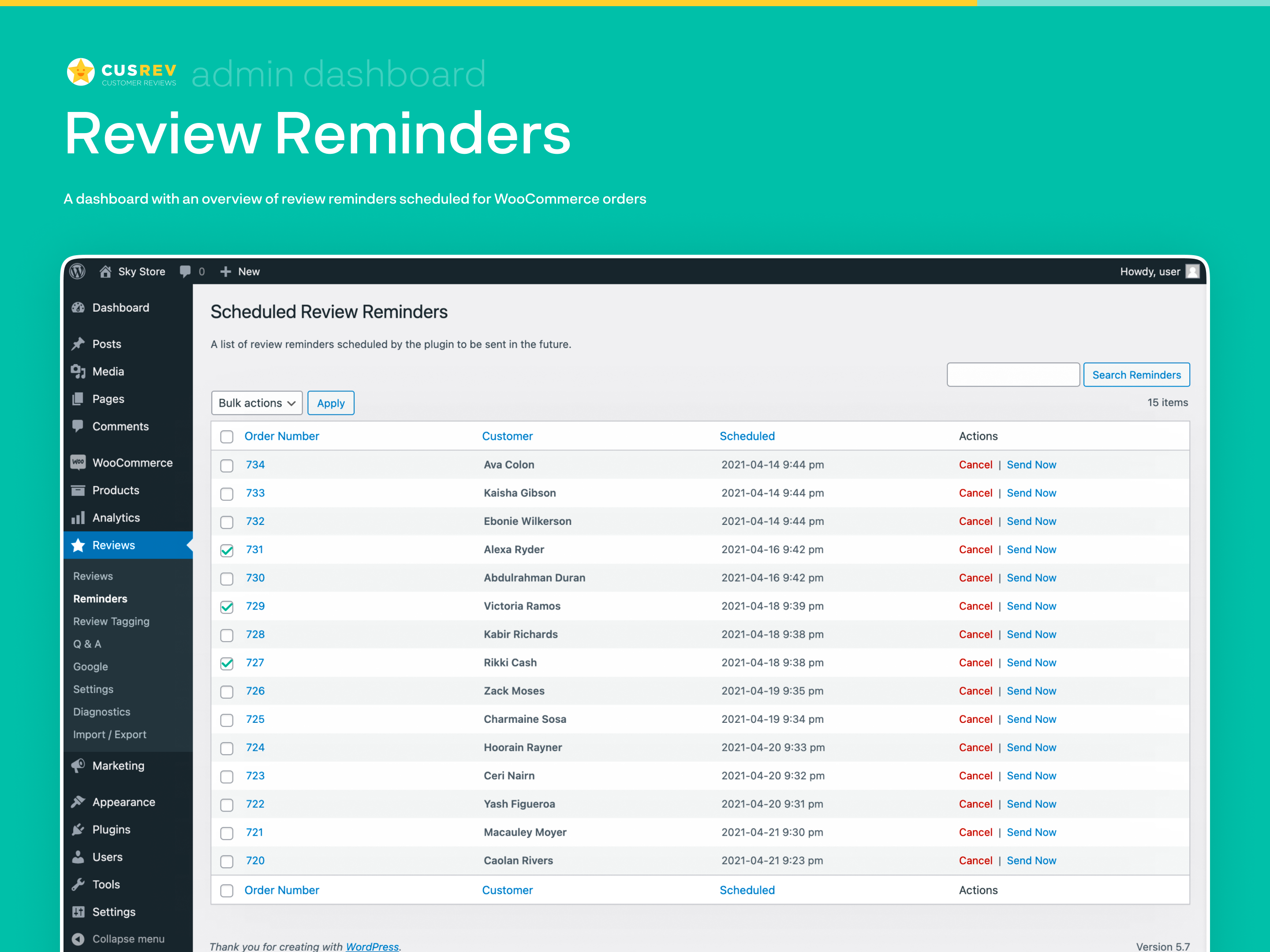 Review Reminders (Admin Dashboard)