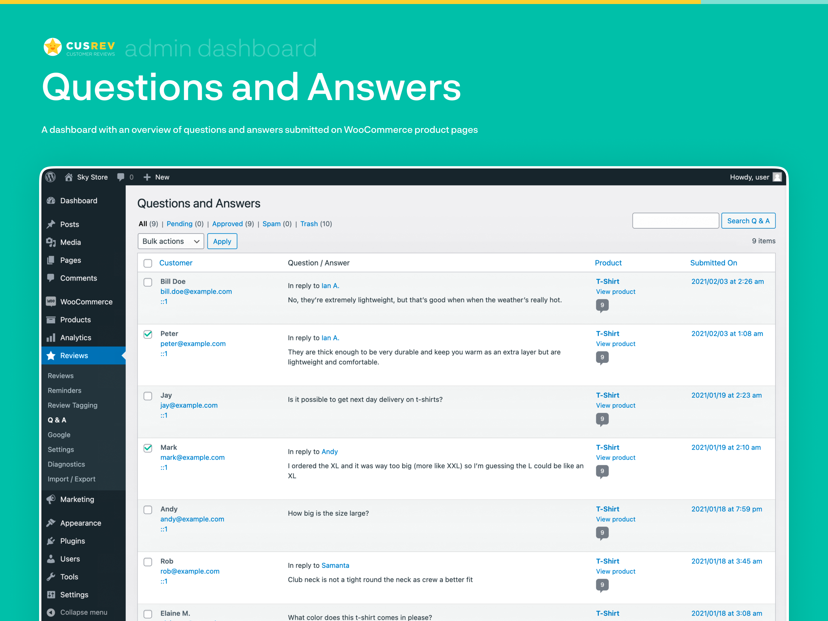 Questions and Answers (Admin Dashboard)
