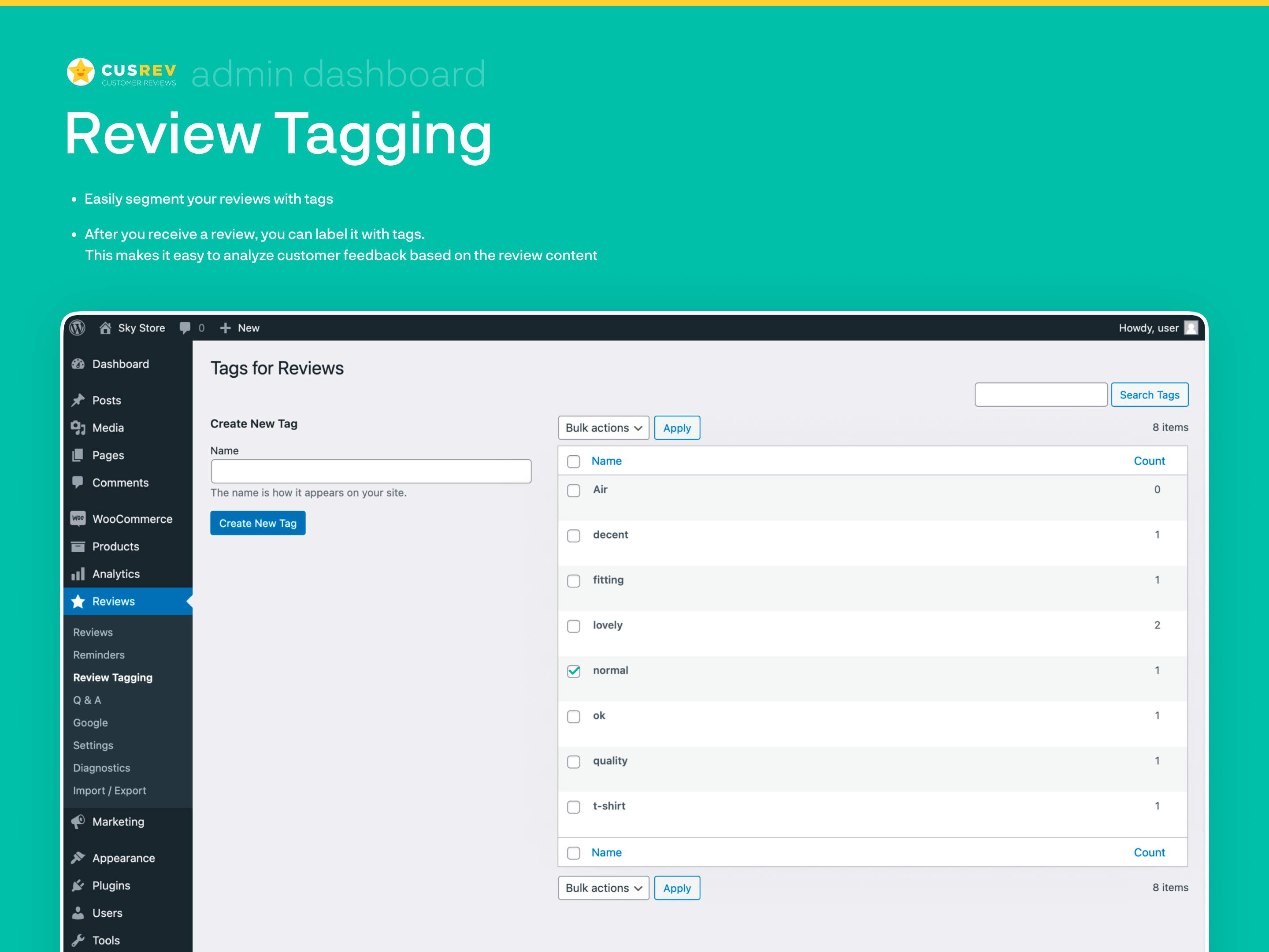 Review Tagging (Admin Dashboard)