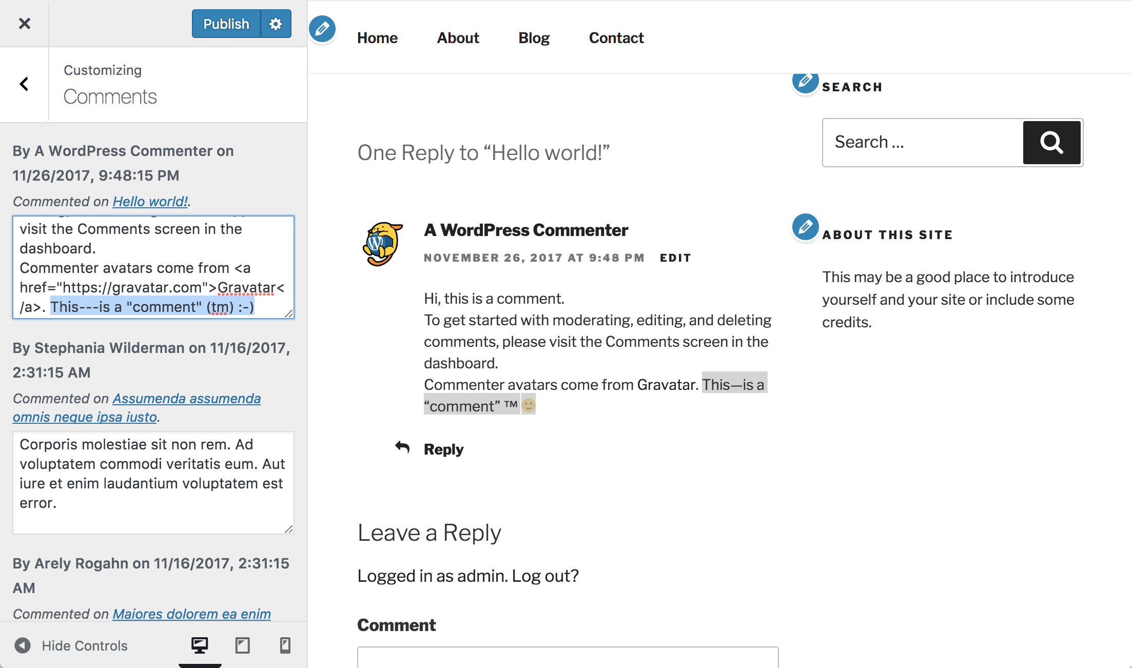 Comments edited in the Customizer are previewed with selective refresh.