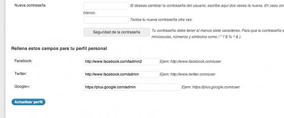 Configuration Options user panel