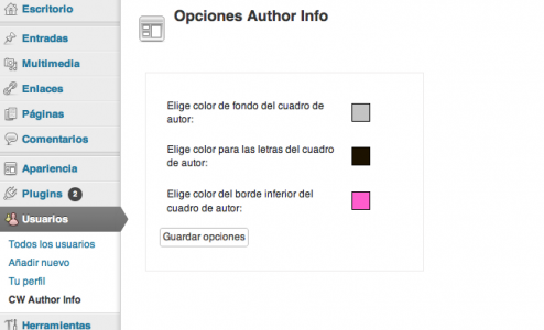 Configuration options box author information