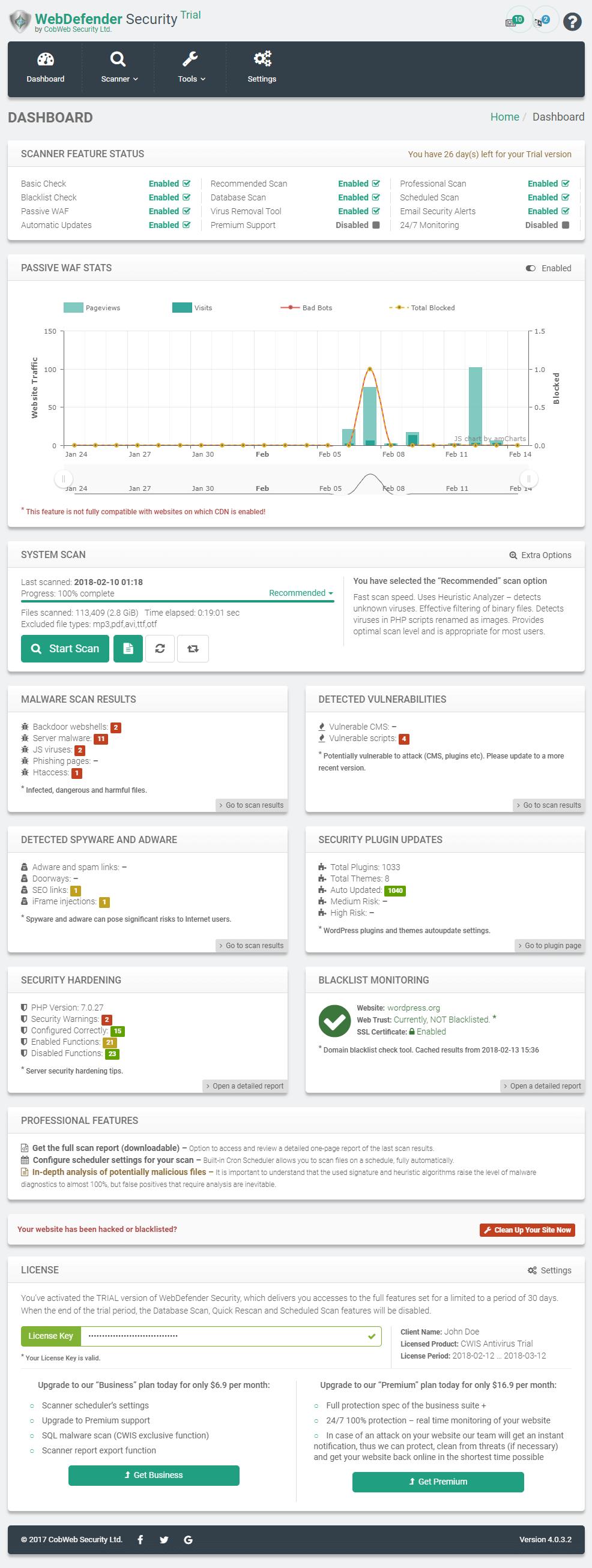 WebDefender Security Dashboard Control Panel