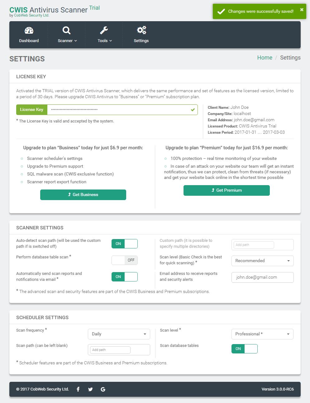 Antivirus Scanner & Scheduler Settings Page