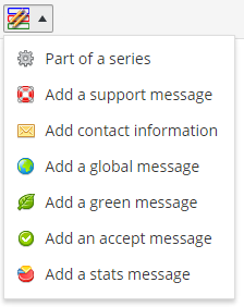 The second button lets you add these message blocks. You will be prompted both for a title and content.