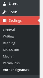The admin area menu showing the <code>Author Signature</code> option under the <code>Settings</code> menu.