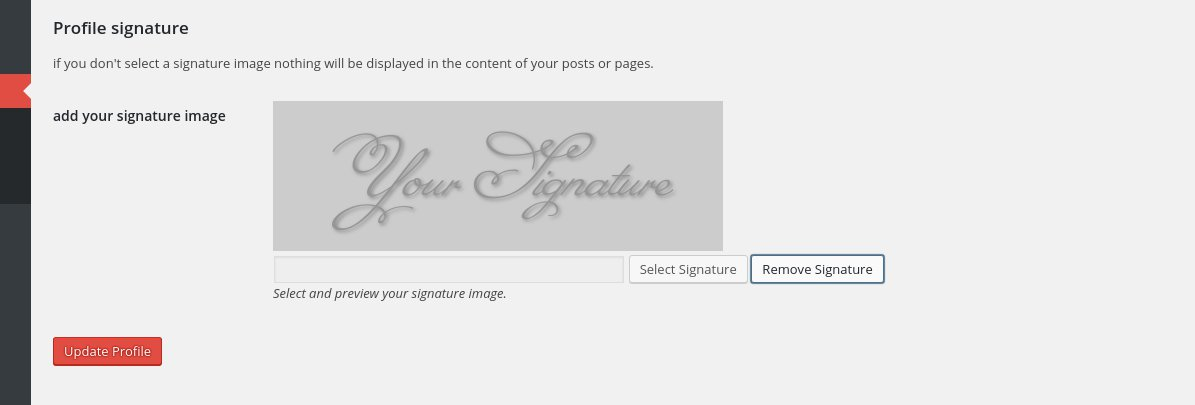 The bottom of the profile page, where you can upload your personal signature image.