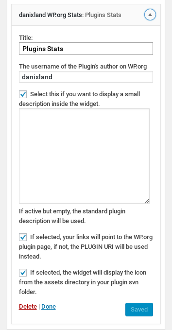 The plugin widget as seen in the admin area.