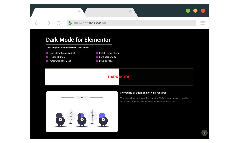 Dark mode enabled.