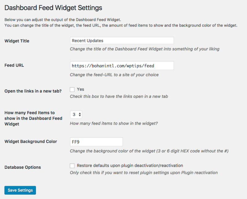 dashboard-feed-widget screenshot 1