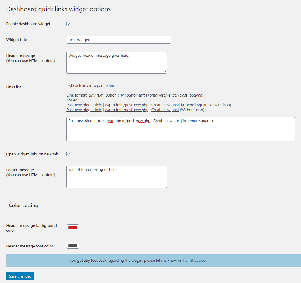 plugin settings dialog