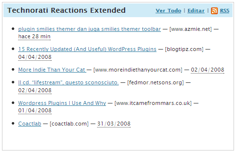 Dashboard: Technorati Reactions Extended default view