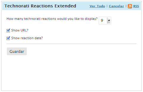 Dashboard: Technorati Reactions Extended options