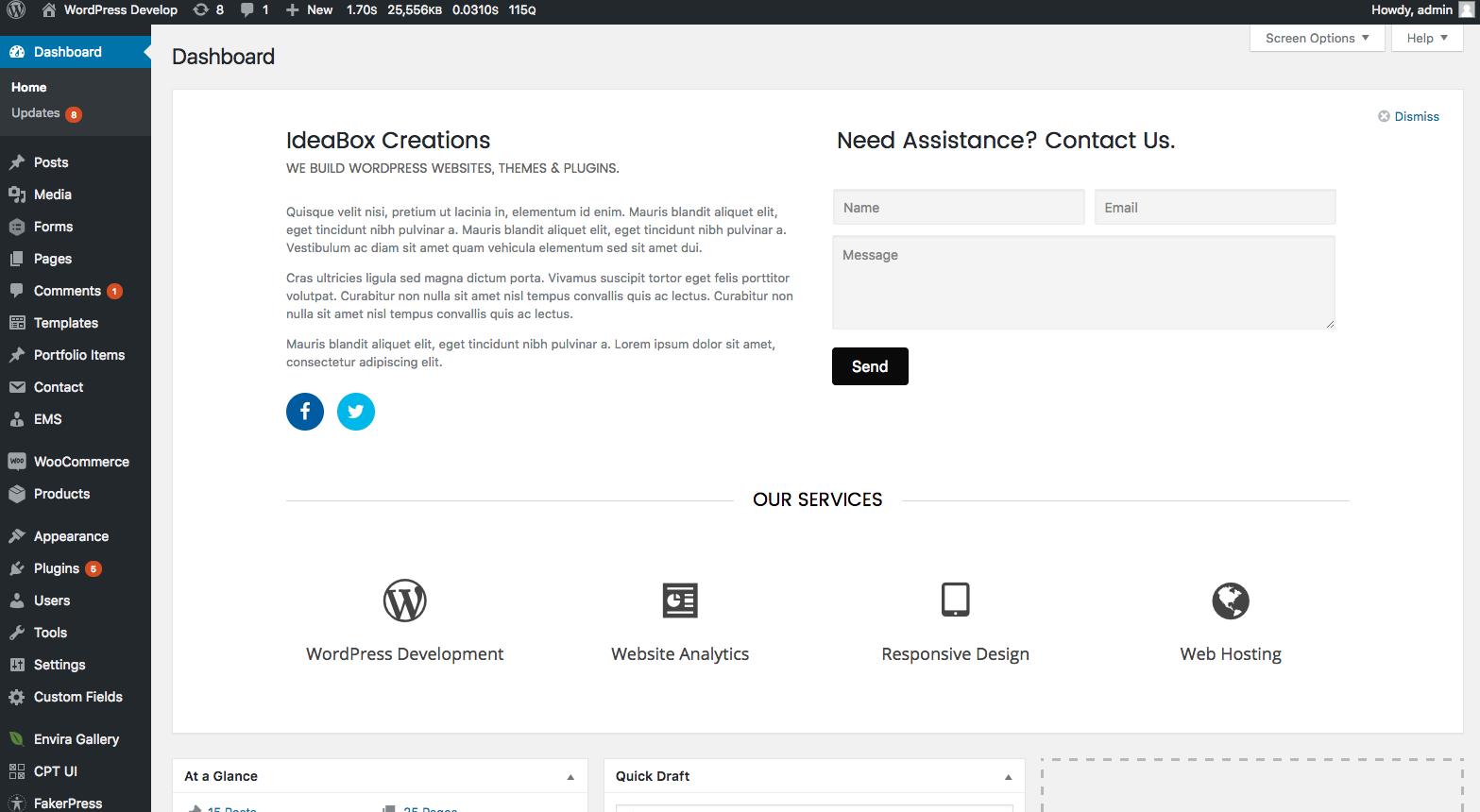 Admin Dashboard - Custom welcome panel
