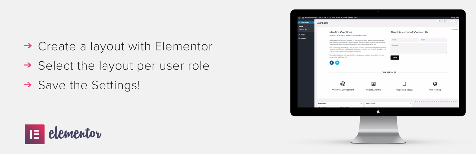 Dashboard Welcome Addon For Elementor