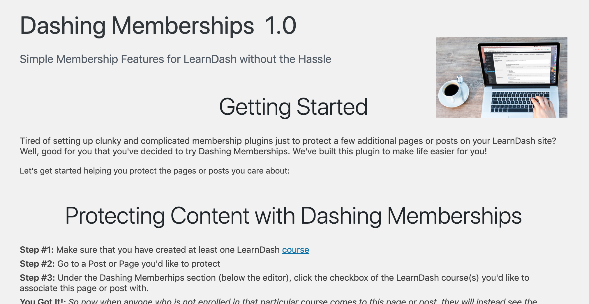 Dashing Memberships settings page