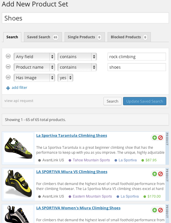 datafeedr-product-sets screenshot 1